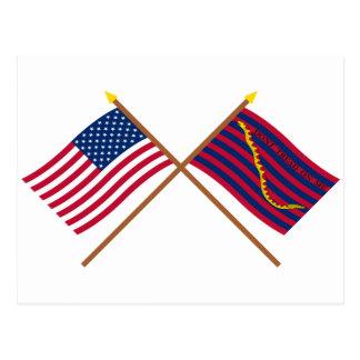 Banderas cruzadas de la marina de guerra de los postales