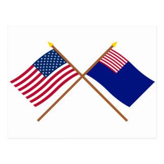 Banderas cruzadas de la marina de guerra de los tarjetas postales