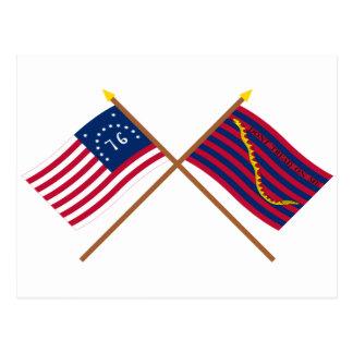 Banderas cruzadas de la marina de guerra de tarjeta postal