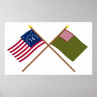 Banderas cruzadas de la milicia de Bennington y de Póster