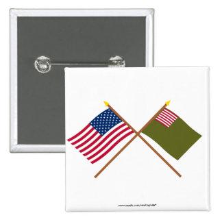 Banderas cruzadas de la milicia de los E.E.U.U. y  Pin Cuadrada 5 Cm