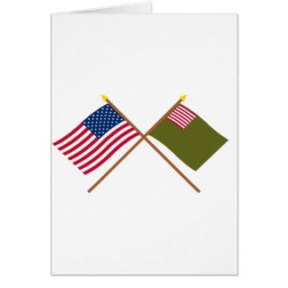 Banderas cruzadas de la milicia de los E.E.U.U. y Tarjeta De Felicitación