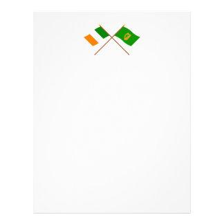 Banderas cruzadas de la provincia de Irlanda y de Membrete Personalizado