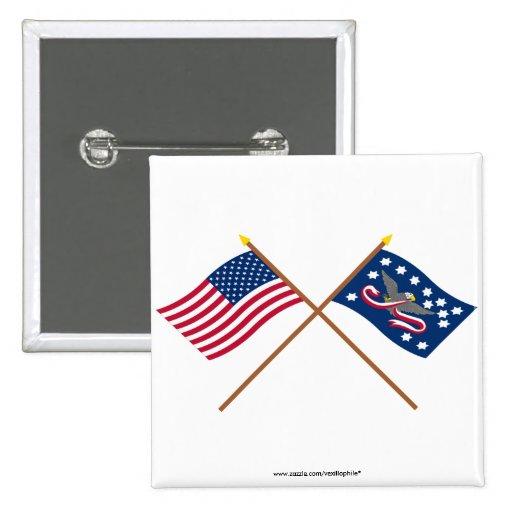 Banderas cruzadas de la rebelión de los E.E.U.U. y Pin Cuadrada 5 Cm