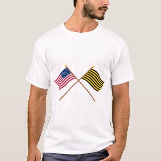 Banderas cruzadas de la represalia de los E.E.U.U. Playera