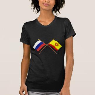Banderas cruzadas de la república de Rusia y del Camisas