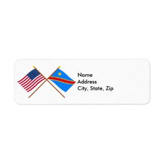 Banderas cruzadas de la república Democratic de Etiquetas De Remite