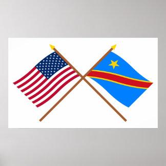 Banderas cruzadas de la república Democratic de Póster