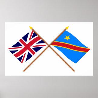 Banderas cruzadas de la república Democratic de Re Póster