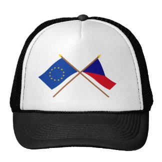 Banderas cruzadas de la UE y de la República Checa Gorros Bordados