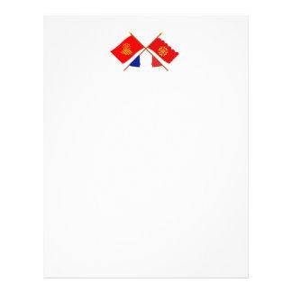 Banderas cruzadas de Languedoc-Rosellón y de Gard Membrete Personalizado