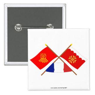 Banderas cruzadas de Languedoc-Rosellón y de Gard Pin
