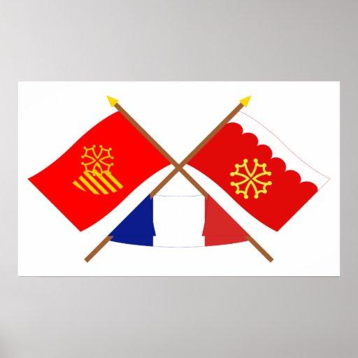 Banderas cruzadas de Languedoc-Rosellón y de Gard Póster