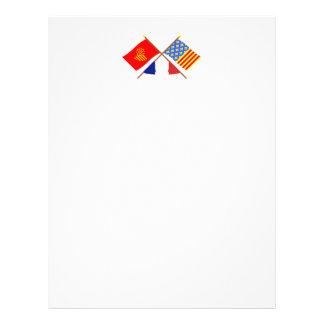 Banderas cruzadas de Languedoc-Rosellón y de Membretes Personalizados