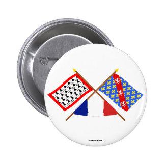 Banderas cruzadas de Lemosín y de la Creuse Pins