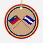 Banderas cruzadas de Liechtenstein y de Eschen Adorno