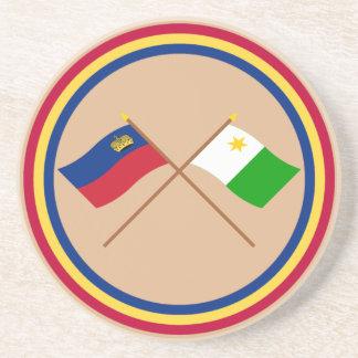 Banderas cruzadas de Liechtenstein y de Planken Posavasos Personalizados