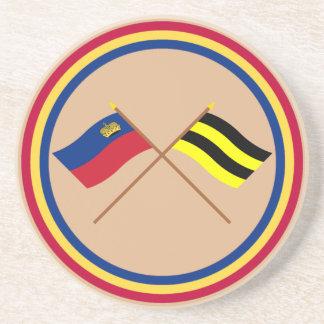 Banderas cruzadas de Liechtenstein y de Schellenbe Posavasos Diseño