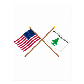 Banderas cruzadas de los cruceros de los E.E.U.U. Tarjeta Postal