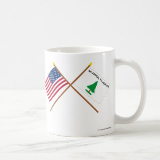Banderas cruzadas de los cruceros de los E.E.U.U.  Taza Básica Blanca