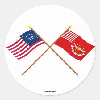 Banderas cruzadas de los Dragoons de Bennington y Pegatinas Redondas