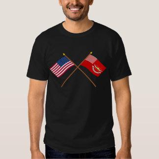Banderas cruzadas de los Dragoons de los E.E.U.U. Remeras