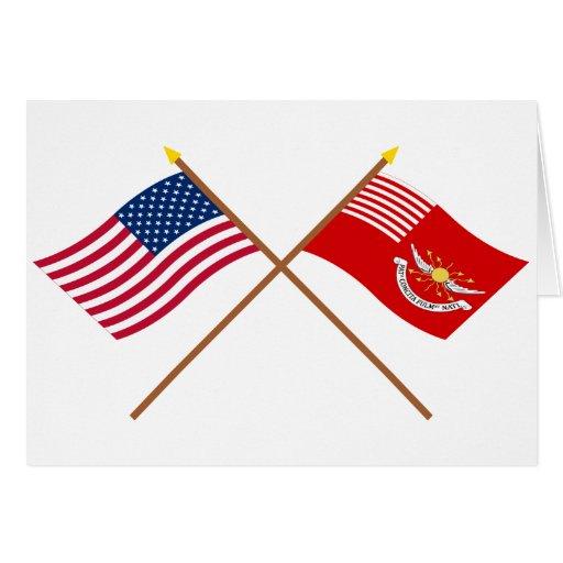 Banderas cruzadas de los Dragoons de los E.E.U.U. Tarjeta De Felicitación