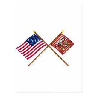 Banderas cruzadas de los E E U U y de Bedford Postal
