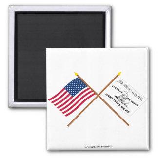 Banderas cruzadas de los E.E.U.U. y de Culpeper Imán Cuadrado