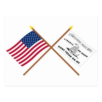 Banderas cruzadas de los E.E.U.U. y de Culpeper Tarjeta Postal