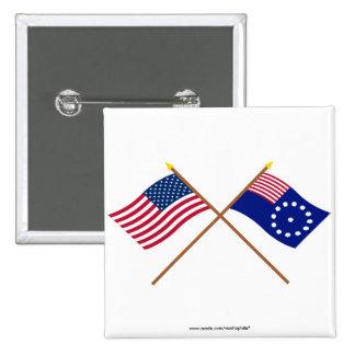 Banderas cruzadas de los E.E.U.U. y de Easton Pin Cuadrada 5 Cm