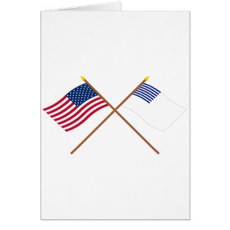 Banderas cruzadas de los E.E.U.U. y de Forster Tarjeta De Felicitación