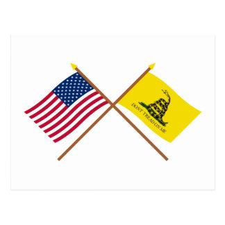 Banderas cruzadas de los E.E.U.U. y de Gadsden Tarjetas Postales