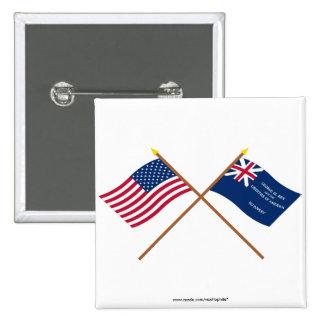 Banderas cruzadas de los E.E.U.U. y de George Rex Pins
