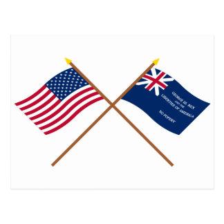 Banderas cruzadas de los E.E.U.U. y de George Rex Postal