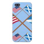 Banderas cruzadas de los E.E.U.U. y de la Escocia  iPhone 5 Carcasas