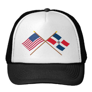 Banderas cruzadas de los E.E.U.U. y de la Gorras