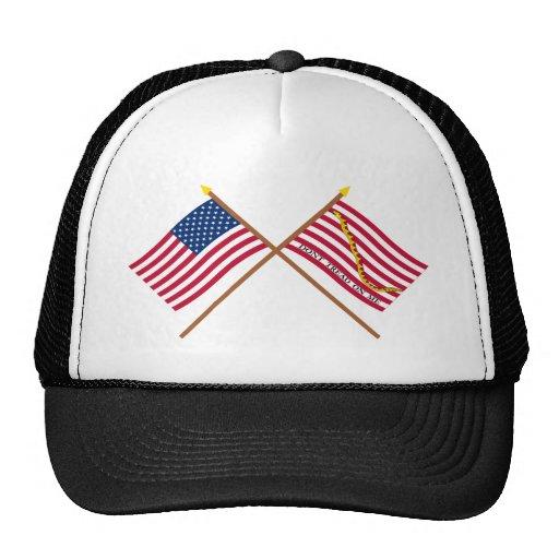 Banderas cruzadas de los E.E.U.U. y de la Gorro De Camionero