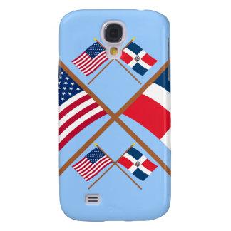 Banderas cruzadas de los E.E.U.U. y de la Repúblic Funda Para Galaxy S4