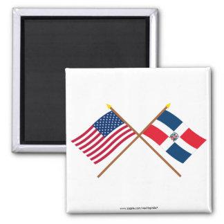 Banderas cruzadas de los E.E.U.U. y de la Repúblic Imán Para Frigorífico