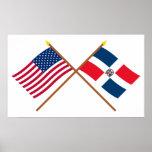 Banderas cruzadas de los E.E.U.U. y de la Repúblic Impresiones
