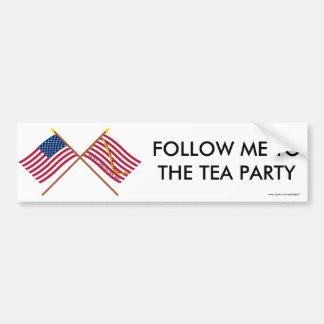 Banderas cruzadas de los E.E.U.U. y de la serpient Pegatina De Parachoque