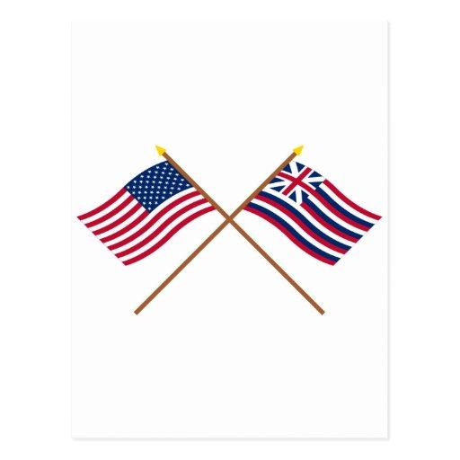 Banderas cruzadas de los E.E.U.U. y de Lexington d Tarjeta Postal
