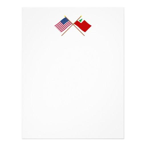 Banderas cruzadas de los E.E.U.U. y de Nueva Ingla Membretes Personalizados
