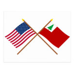 Banderas cruzadas de los E.E.U.U. y de Nueva Ingla Postal