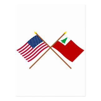 Banderas cruzadas de los E.E.U.U. y de Nueva Postales