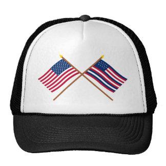 Banderas cruzadas de los E.E.U.U. y de Serapis Gorras De Camionero