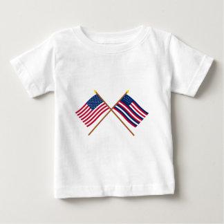 Banderas cruzadas de los E.E.U.U. y de Serapis Playera De Bebé