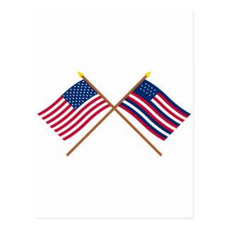 Banderas cruzadas de los E.E.U.U. y de Serapis Postales
