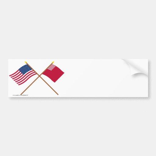 Banderas cruzadas de los E.E.U.U. y del Forster-Ca Etiqueta De Parachoque